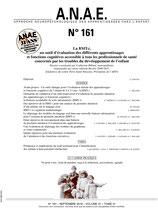 ANAE N°161 - La BMT-i, un outil d'évaluation initiale des apprentissages et des fonctions cognitives de l'enfant