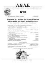 N° 80 - Répondre aux besoins des élèves présentant des troubles spécifiques du langage écrit