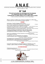 ANAE N°164 - Prévenir les troubles de développement du langage en collaborant dans les milieux educatifs