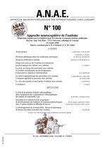 ANAE N° 100 - Approche neurocognitive de l'autisme
