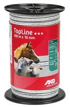 AKO TopLine Weidezaunband weiß/schwarz 10mm 200m