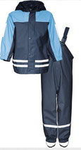*Regenanzug mit Fleecefutter marine/hellblau