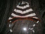 Fleece Mütze braun/weiss Gr. 6-12 Mt./47 cm