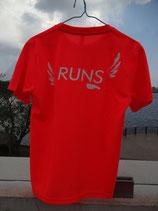 RUNS‐Tシャツ レギュラータイプ フルオレンスオジンジ(蛍光)