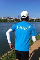 RUNS‐Tシャツ レギュラータイプ ターコイズブルー