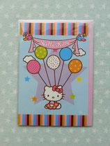 Klappkarte, Glückwunschkarte, Einladungskarte, Hello Kitty, star blau