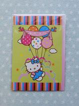 Klappkarte, Glückwunschkarte, Einladungskarte, Hello Kitty, balloon