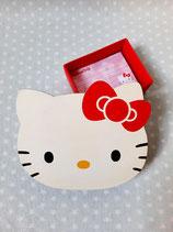 Notizzettel in Box, Zettelbox, Hello Kitty, dot rot L
