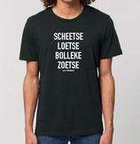 """""""Scheetse Loetse Bolleke Zoetse' zwart met witte opdruk"""