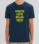 """Scheetse Loetse Bolleke Zoetse' Blauw met gele opdruk"