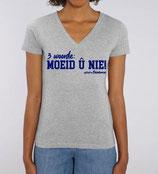 '3 woorde – MOEID Û NIE! ' grijs met blauwe opdruk - vrouw