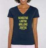 """Scheetse Loetse Bolleke Zoetse' blauw met gele opdruk - vrouw"
