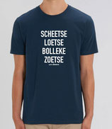 """Scheetse Loetse Bolleke Zoetse' Blauw met witte opdruk"