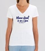 'Maan Gent ik zie u girre' - wit met blauwe opdruk' - vrouw
