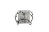 Windlicht Geweih Alu Raw Nickel antik Glas grau H=22cm D=30cm