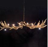 Kronleuchter aus Hirschgeweih mit 6 Lampen und 2 Spots