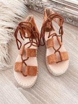 schnür sandalen 'camel'