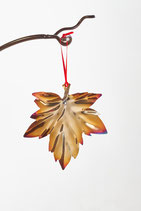 Small Field Maple leaf- Xmas decoration and home accessory in colourful stainless steel.