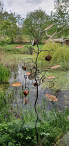 Bird feeder tree with oval patinated stainless steel leaves