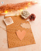 10 Stück Papiertasche / Geschenktasche Farbe golden Hearts  17 x 25 cm mit Varianten
