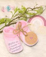 """Geschenk für die Patentante """"Babyschuhe"""" mit Bestickung"""