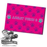 Pink, Purple, Aqua Paw Print; Choc Wrapper