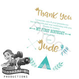 Wild One; Teal & White: Thank You Cards