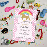 Unicorn Polkadot Invites