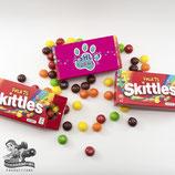 Pink, Purple, Aqua Paw Print Skittles Box Wrapper