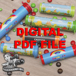 Blue Floral; M&M Tube Wrapper; Digital PDF File