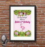 Flamingo, Watercolour ; A3 Poster