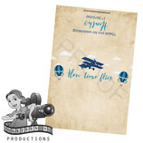 Vintage Airplane & Balloon; Blue & Beige; Choc Wrapper