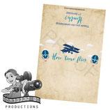 Vintage Airplane & Balloon; Blue & Beige; Choc Wrapper
