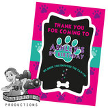 Pink, Purple, Aqua Paw Print; Party Bag Labels