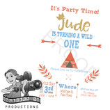 Wild One; Orange & Blue: Invites