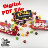 Construction Skittles Box Wrapper; Digital PDF File