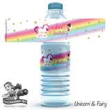 Water Bottle Labels: Unicorn & Fairy Cartoon