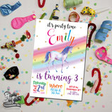 Rainbow Unicorn Watercolour Invites