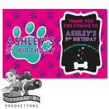 Pink, Purple, Aqua Paw Print Thank You Cards