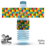 Building Blocks Water Bottle Label; Digital PDF File