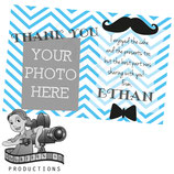 Little Man Thank You Cards - Add Photo; Blue & White