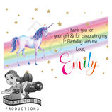 Rainbow Unicorn Watercolour Thank You Cards