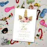 Floral Unicorn Invites