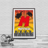 Monogram Superhero Poster; A4 Print, Red & Orange
