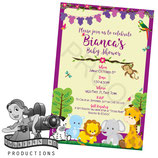 Jungle Animal Baby Shower Invites