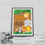 Jungle Animals; A4 Baby Bio Poster