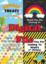 Jungle Animal:  Party Bag Label; Digital PDF File