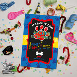 Paw Print; Blue, Red, Yellow Invites
