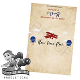 Vintage Airplane & Balloon; Red & Blue; Choc Wrapper