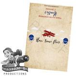Vintage Airplane & Balloon; Red & Blue; Choc Wrapper